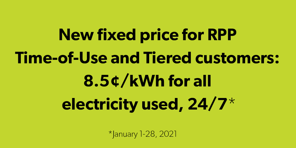 Fixed Pricing 8.5 cents until January 28, 2021