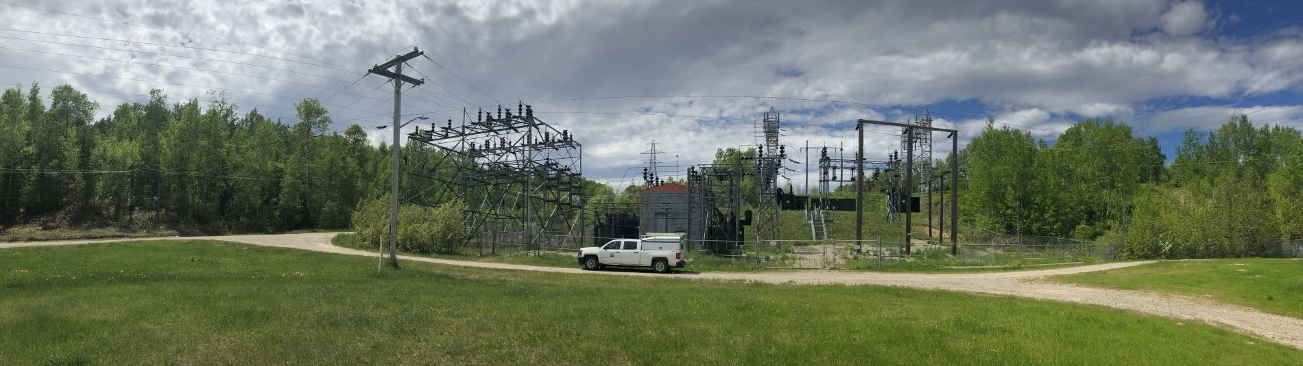 White truck at a substation