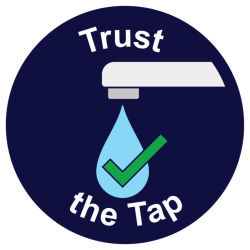 water drop from tap and check mark